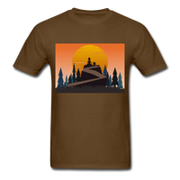 Lady and Pet on Cliff - Unisex - brown