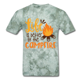 Life is Better Campfire - Men's - military green tie dye