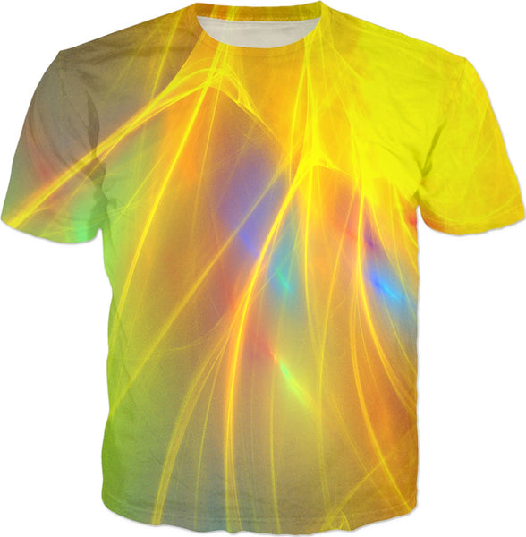 Yellow and Green With Blue Detail Fractal - Unisex Tee