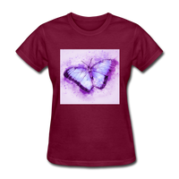 Purple and Blue Sketch Butterfly - Women's - burgundy