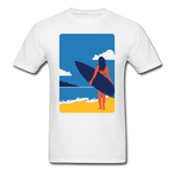 Lady with Surf Board - Unisex - white