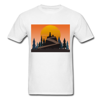Lady and Pet on Cliff - Unisex - white