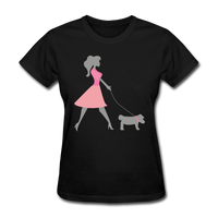 Woman in Pink Walking Dog - Women's - black