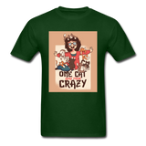 One Cat Away from Crazy - Men's - forest green
