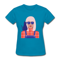 Stylish Lady with Cat - Women's - turquoise