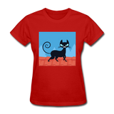 Black Cat on a Roof - Women's - red