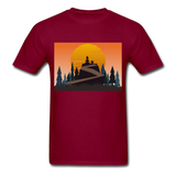 Lady and Pet on Cliff - Unisex - burgundy