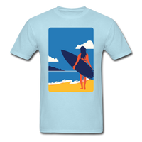 Lady with Surf Board - Unisex - powder blue
