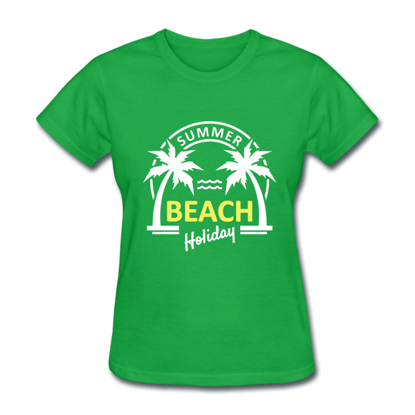 Summer Beach Holiday Design #3 Women's Tee - bright green