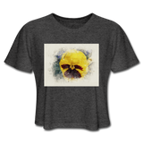 Yellow Pansy Watercolor - Women's Cropped Top - deep heather