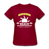 Summer Beach Holiday Design #4 - Women's Tee - dark red