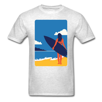 Lady with Surf Board - Unisex - light heather grey