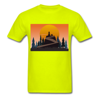 Lady and Pet on Cliff - Unisex - safety green
