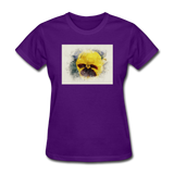 Yellow Pansy Watercolor - Women's - purple