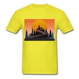 Lady and Pet on Cliff - Unisex - yellow