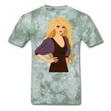 Blonde Lady in Lovely Dress - Men's - military green tie dye