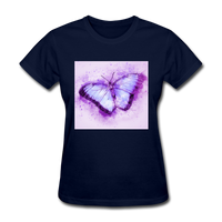 Purple and Blue Sketch Butterfly - Women's - navy