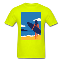 Lady with Surf Board - Unisex - safety green