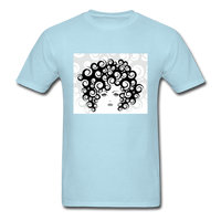 Woman with  Curly Hair - Men's - powder blue