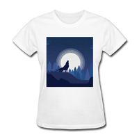 Wolf Howling at Moon - Women's - white