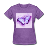Purple and Blue Sketch Butterfly - Women's - purple heather