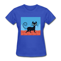 Black Cat on a Roof - Women's - royal blue