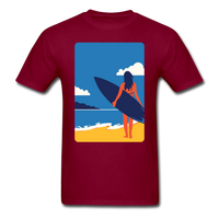 Lady with Surf Board - Unisex - burgundy