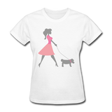 Woman in Pink Walking Dog - Women's - white