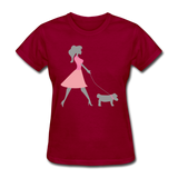 Woman in Pink Walking Dog - Women's - dark red