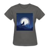 Wolf Howling at Moon - Women's - charcoal