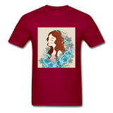 Beautiful Woman with Flowers - Men's - dark red