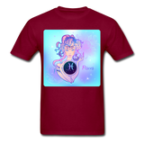 Pisces Lady on Blue - Unisex - burgundy