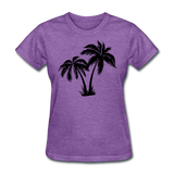 Palm Trees Silhouette - Women's Tee - purple heather