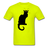 Black Cat with Yellow Eyes - Men's - safety green