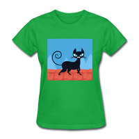 Black Cat on a Roof - Women's - bright green