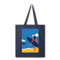 Lady with Surf Board - Tote - navy