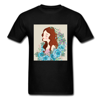 Beautiful Woman with Flowers - Men's - black