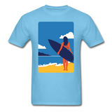Lady with Surf Board - Unisex - aquatic blue