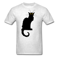 Black Cat with Yellow Eyes - Men's - light heather grey