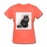 Black Cat Drawing - Women's - heather coral