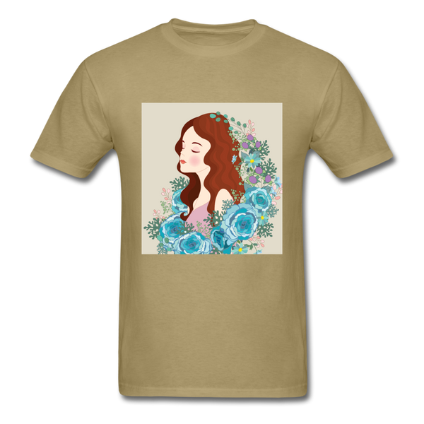 Beautiful Woman with Flowers - Men's - khaki