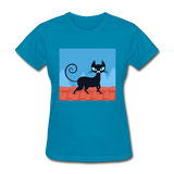 Black Cat on a Roof - Women's - turquoise