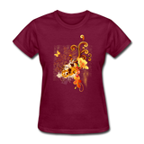 Swirls with Butterfly - Women's - burgundy