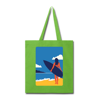 Lady with Surf Board - Tote - lime green