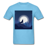 Wolf Howling at the Moon 2 - aquatic blue