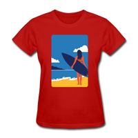 Lady with Surf Board - Women's - red