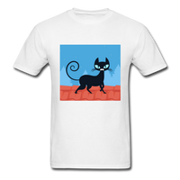 Black Cat on a Roof - Mens - white
