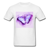 Purple and Blue Sketch Butterfly - Men's - white