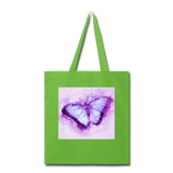 Purple and Blue Sketch Butterfly - Tote - lime green
