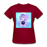 Pisces Lady on Blue - Women's - dark red